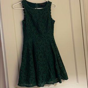 City Studio emerald green laced dress